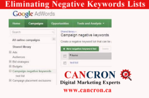 Eliminating Negative Keywords Lists Cancron inc