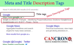 Meta and Title Description Tags - Cancron inc